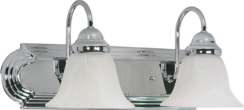 """NUVO Lighting 60/316 Ballerina 2 Light 18"""" Vanity with Alabaster Glass Bell Shades"""