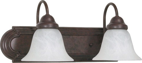 """NUVO Lighting 60/324 Ballerina 2 Light 18"""" Vanity with Alabaster Glass Bell Shades"""