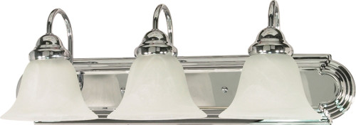 """NUVO Lighting 60/317 Ballerina 3 Light 24"""" Vanity with Alabaster Glass Bell Shades"""