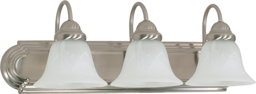"""NUVO Lighting 60/321 Ballerina 3 Light 24"""" Vanity with Alabaster Glass Bell Shades"""