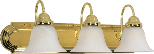 """NUVO Lighting 60/329 Ballerina 3 Light 24"""" Vanity with Alabaster Glass Bell Shades"""