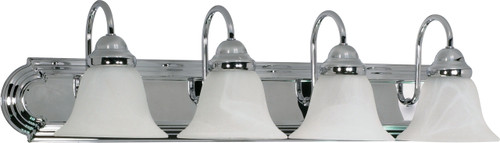 """NUVO Lighting 60/318 Ballerina 4 Light 30"""" Vanity with Alabaster Glass Bell Shades"""