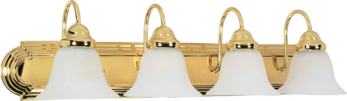 """NUVO Lighting 60/330 Ballerina 4 Light 30"""" Vanity with Alabaster Glass Bell Shades"""