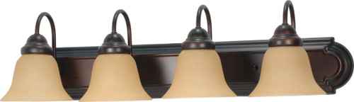 """NUVO Lighting 60/1266 Ballerina 4 Light 30"""" Vanity with Champagne Linen Washed Glass"""