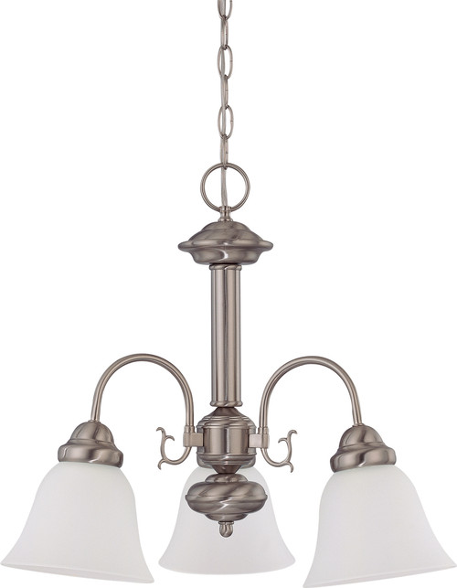 """NUVO Lighting 60/3241 Ballerina 3 Light 20"""" Chandelier with Frosted White Glass"""
