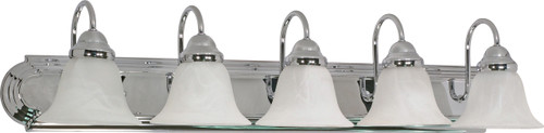 """NUVO Lighting 60/319 Ballerina 5 Light 36"""" Vanity with Alabaster Glass Bell Shades"""