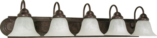 """NUVO Lighting 60/327 Ballerina 5 Light 36"""" Vanity with Alabaster Glass Bell Shades"""