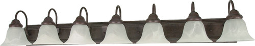 """NUVO Lighting 60/292 Ballerina 7 Light 48"""" Vanity with Alabaster Glass Bell Shades"""