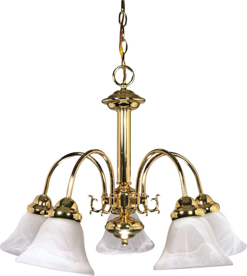"""NUVO Lighting 60/185 Ballerina 5 Light 24"""" Chandelier with Alabaster Glass Bell Shades"""
