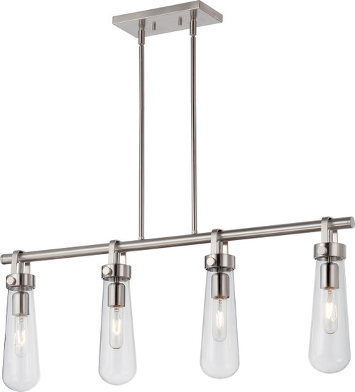 NUVO Lighting 60/5265 Beaker 4 Light Trestle Fixture with Clear Glass (Vintage Bulbs Included)