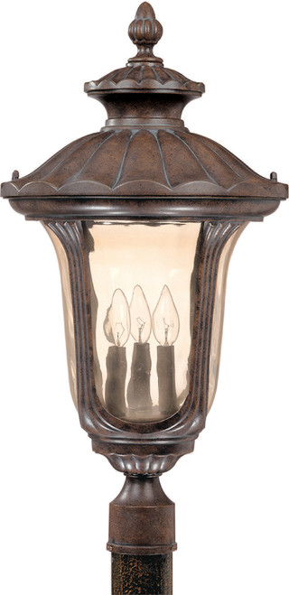 NUVO Lighting 60/2011 Beaumont 3 Light Large Post Lantern with Amber Water Glass