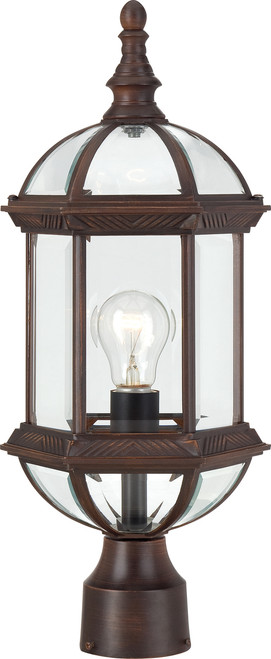 """NUVO Lighting 60/4975 Boxwood 1 Light 19"""" Outdoor Post with Clear Beveled Glass"""