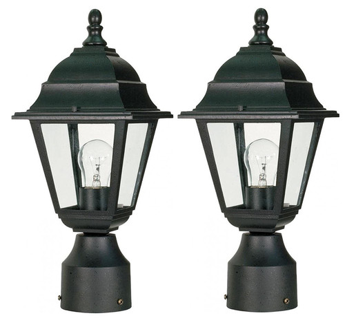 """NUVO Lighting 2 Pack of 60/548 Briton 1 Light 14"""" Post Lantern with Clear Glass"""