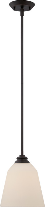 NUVO Lighting 62/372 Calvin 1 Light Mini Pendant with Satin White Glass (LED Omni Bulb Included)