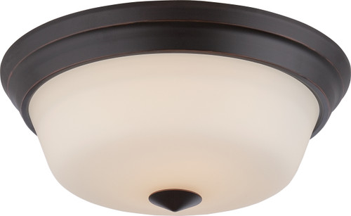 NUVO Lighting 62/373 Calvin 2 Light Flushmount Fixture with Satin White Glass (LED Omni Bulbs Included)