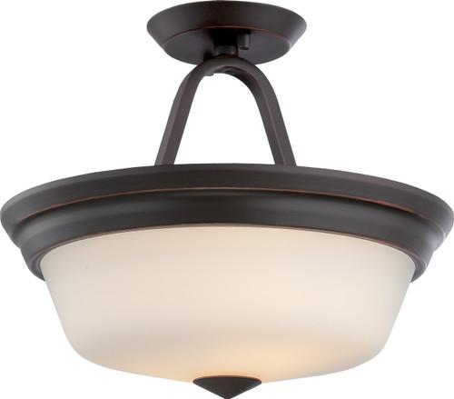 NUVO Lighting 62/374 Calvin 2 Light Semi Flushmount with Satin White Glass (LED Omni Bulbs Included)