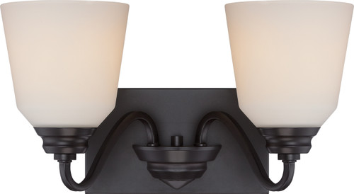 NUVO Lighting 62/377 Calvin 2 Light Vanity Fixture with Satin White Glass (LED Omni Bulbs Included)