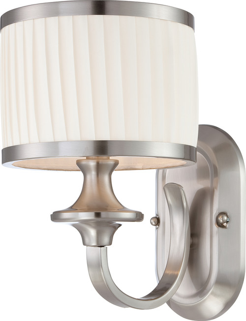 NUVO Lighting 60/4731 Candice 1 Light Vanity Fixture with Pleated White Shade