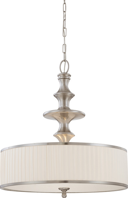 NUVO Lighting 60/4736 Candice 3 Light Pendant with Pleated White Shade