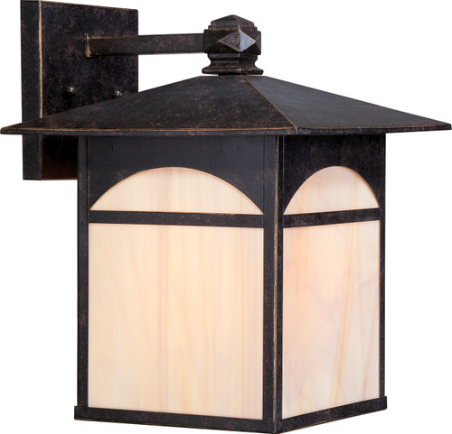 """NUVO Lighting 60/5653 Canyon 1 Light 11"""" Outdoor Wall Fixture with Honey Stained Glass"""