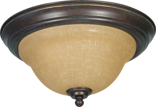 """NUVO Lighting 60/1038 Castillo 2 Light 13"""" Flushmount with Champagne Linen Washed Glass"""