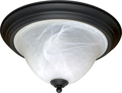 "NUVO Lighting 60/383 Castillo 2 Light 16"" Flushmount with Alabaster Swirl Glass"