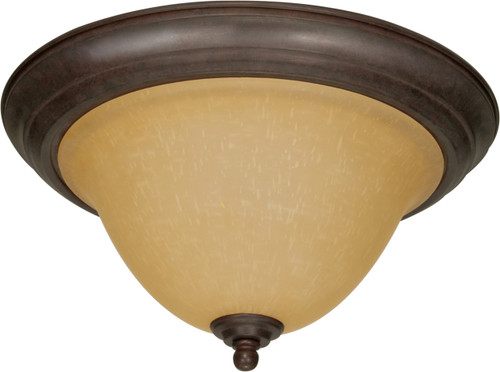 """NUVO Lighting 60/1026 Castillo 2 Light 16"""" Flushmount with Champagne Linen Washed Glass"""