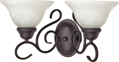 """NUVO Lighting 60/388 Castillo 2 Light 18"""" Wall Fixture with Alabaster Swirl Glass"""
