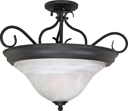 "NUVO Lighting 60/384 Castillo 3 Light 19"" Semi Flushmount with Alabaster Swirl Glass"