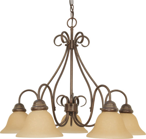 """NUVO Lighting 60/1024 Castillo 5 Light 28"""" Chandelier with Champagne Linen Washed Glass"""