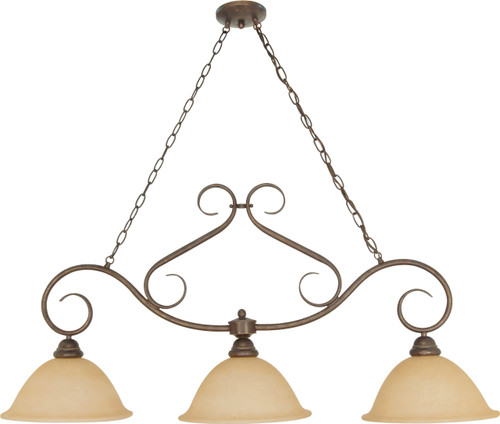 """NUVO Lighting 60/1025 Castillo 3 Light 44"""" Trestle with Champagne Linen Washed Glass"""