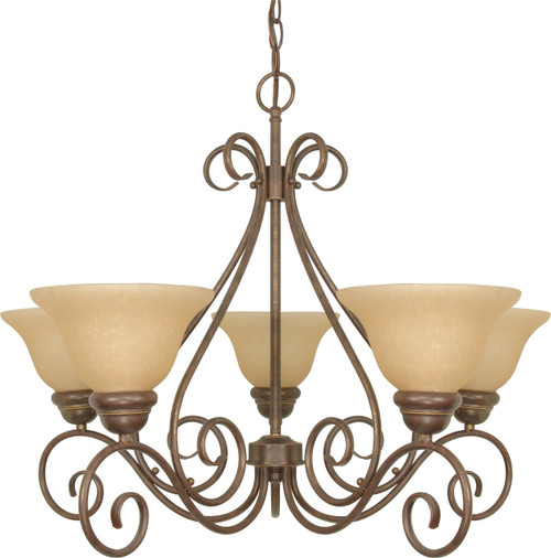 """NUVO Lighting 60/1023 Castillo 5 Light 28"""" Chandelier with Champagne Linen Washed Glass"""