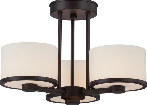 NUVO Lighting 60/5577 Celine 3 Light Semi Flushmount with Etched Opal Glass