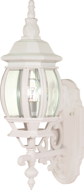 """NUVO Lighting 60/885 Central Park 1 Light 20"""" Wall Lantern with Clear Beveled Glass"""