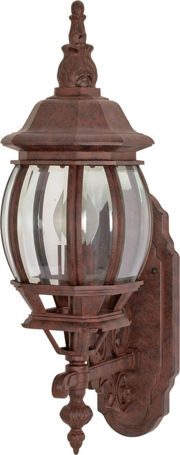 """NUVO Lighting 60/886 Central Park 1 Light 20"""" Wall Lantern with Clear Beveled Glass"""