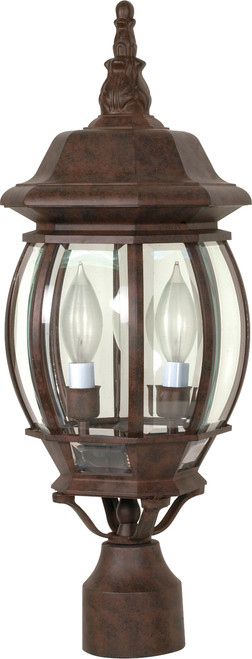 """NUVO Lighting 60/898 Central Park 3 Light 21"""" Post Lantern with Clear Beveled Glass"""