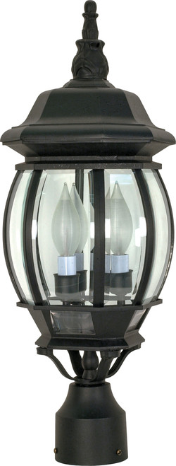 """NUVO Lighting 60/899 Central Park 3 Light 21"""" Post Lantern with Clear Beveled Glass"""