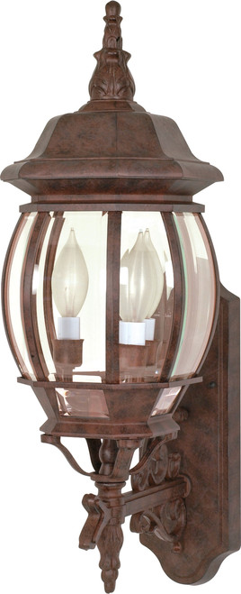 """NUVO Lighting 60/889 Central Park 3 Light 22"""" Wall Lantern with Clear Beveled Glass"""