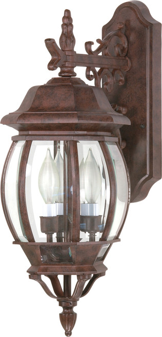 """NUVO Lighting 60/892 Central Park 3 Light 22"""" Wall Lantern with Clear Beveled Glass"""