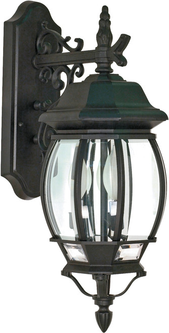"""NUVO Lighting 60/893 Central Park 3 Light 22"""" Wall Lantern with Clear Beveled Glass"""