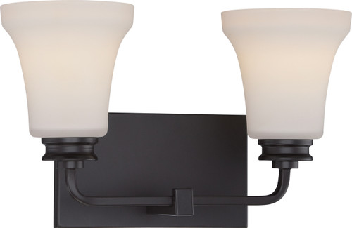 NUVO Lighting 62/437 Cody 2 Light Vanity Fixture with Satin White Glass (LED Omni Bulbs Included)