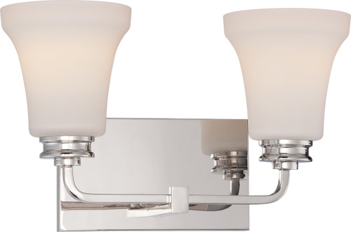 NUVO Lighting 62/427 Cody 2 Light Vanity Fixture with Satin White Glass (LED Omni Bulbs Included)