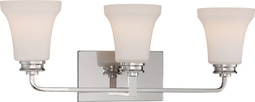 NUVO Lighting 62/428 Cody 3 Light Vanity Fixture with Satin White Glass (LED Omni Bulbs Included)