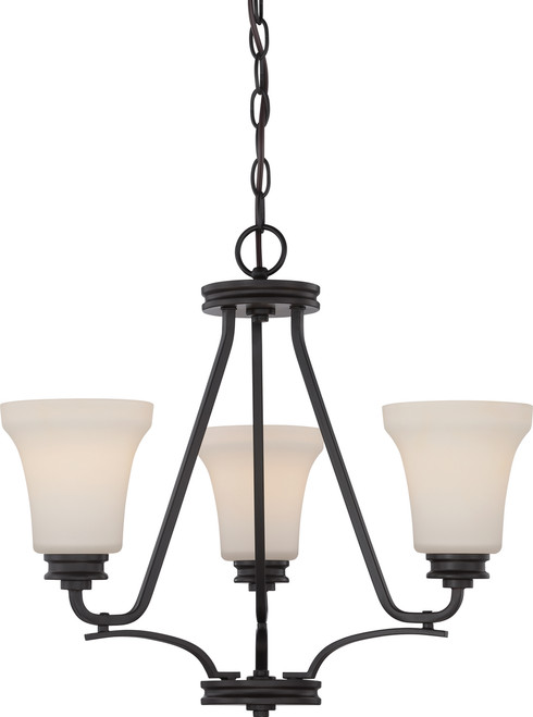 NUVO Lighting 62/439 Cody 3 Light Chandelier with Satin White Glass (LED Omni Bulbs Included)