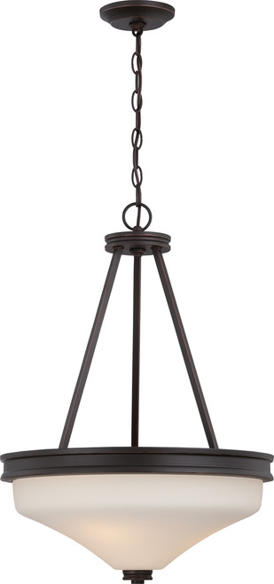 NUVO Lighting 62/435 Cody 3 Light Pendant with Satin White Glass (LED Omni Bulbs Included)