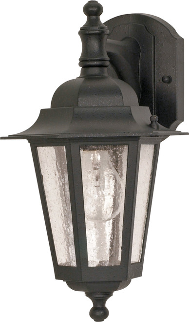 """NUVO Lighting 60/990 Cornerstone 1 Light 13"""" Wall Lantern Arm Down with Clear Seeded Glass"""