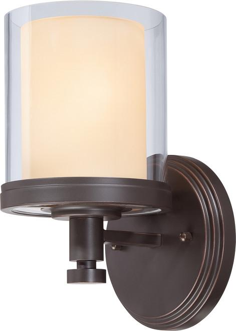 NUVO Lighting 60/4541 Decker 1 Light Vanity Fixture with Clear & Cream Glass