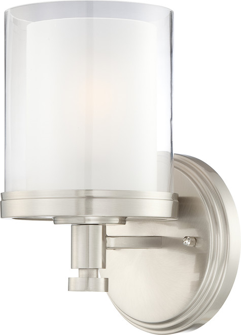 NUVO Lighting 60/4641 Decker 1 Light Vanity Fixture with Clear & Frosted Glass