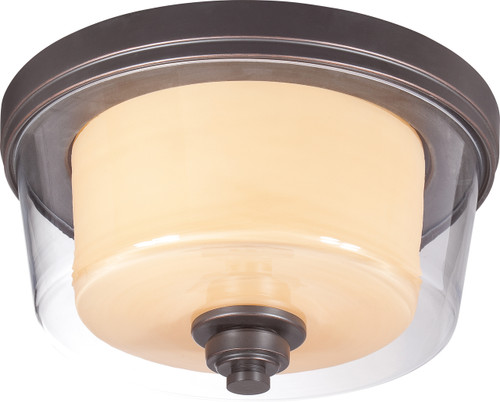 NUVO Lighting 60/4551 Decker 2 Light Medium Flushmount Fixture with Clear & Cream Glass