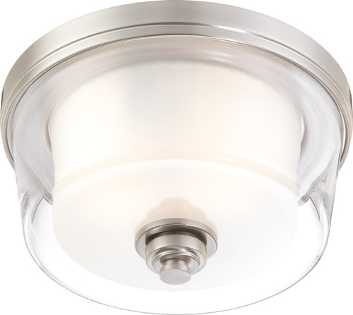 NUVO Lighting 60/4651 Decker 2 Light Medium Flushmount Fixture with Clear & Frosted Glass